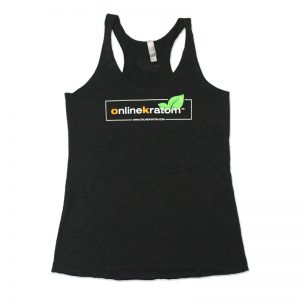 Tri Blend Razorback Tank Top with Online Kratom Logo